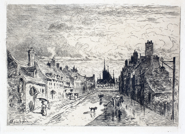 "Félix Buhot's ""After the Rain (Àpres la pluie)"" is an 1872 etching that is included in the University Art Museum's ""50 Works on Print"" exhibit. ""After the Rain"" is one of non-sponsored works in the exhibit."