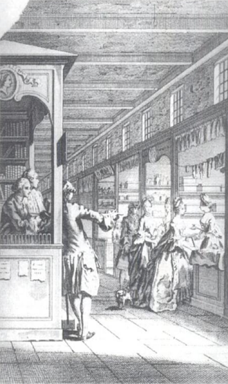 An illustration of the interior view of a shopping gallery in seventeenth-century London. Image from: Engraving of 'The unlucky glance,' attributed to Gravelot, and appeared in the New Exchange, originally published in Town and Country Magazine, 1772.